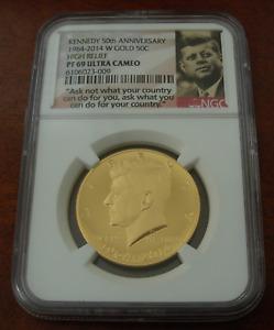 US 2014 Gold 3/4 oz 1/2 Dollar 50 Cents NGC PF69UC Kennedy 50th Anniversary