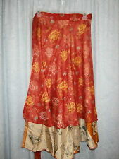 Wevez Size 1X 2X 3X Silk Blend Reversible Wrap Hippie Boho Casual Skirt NWTS 20