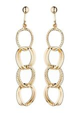 Pendientes de clip-oro plateado con forma de gota cubiertos con Aros enlazados-Atra G