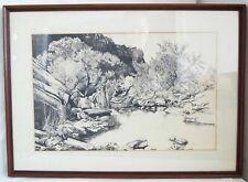 "Regina Rice 1978 Original Art Print Landscape Framed 21.5"" X 15.5"""