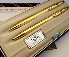 More details for 24k gold plated shiny cross century ball point writing & pencil set ink gift