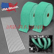 """2 Roll x 2"""" 50FT Green Exhaust Wrap Header Manifold Fiberglass Heat Wrap Tape"""