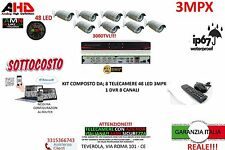 KIT VIDEOSORVEGLIANZA AHD IP CLOUD DVR 8 CANALI 8 TELECAMERE AHD 3MP HD 48LED