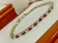20Ct Round Cut Ruby Diamond Women's Tennis Bracelet 14K Yellow Gold Over