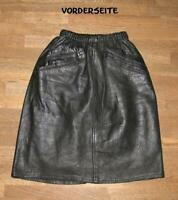 Almost Knee Length Leather Skirt / Rock IN Black With Elastic Waist Approx. 30/
