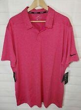 NEW NWT Nike Golf Men's Dri-Fit Striped Polo Shirt Size XL Rush Pink B02