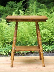 Square Oak Parlor Lamp Table - Antique