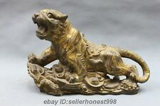 Chinese old Bronze Gild Feng Shui Attract Wealth Twelve Zodiac tiger Statue