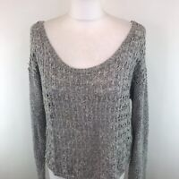Womens Hollister Knitted Jumper Grey Cable Knit Scoop Neck Sparkly Medium M