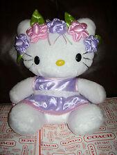 "HELLO KITTY 16"" WHITE PLUSH STUFFED PINK PURPLE DRESS FLOWERS CUTE & RARE"