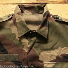 FRENCH MILITARIA 1970s MEN SAFARI ARMY SHIRT - GREEN CAMO - NEW FROM FRANCE - M