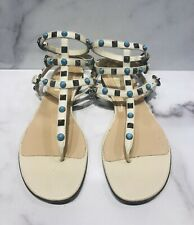 VALENTINO Rockstud Cream Beige Leather Gladiator Buckle Flat Sandals Shoes