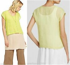 NWT Eileen Fisher SZ M Honeydew Organic Linen Sleeveless Casual Top Tunic Shirt