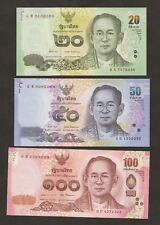 2014 - 15 Thailand New Series 20 / 50 / 100 Baht Uncirculated