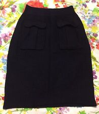 Moth Anthropologie Dark Navy Blue Wool Fitted Pencil Skirt Size XS EUC