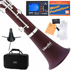 MENDINI Bb CLARINET ROSEWOOD BODY SILVER KEYS W/ TUNER, STAND, CASE MCT-30