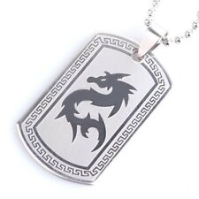 "316L Stainless Steel Pendant 1.00X1.67 Inch Dragon Great Wall Necklace 22"" B106"