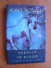 Gail Bowen Verdict in Blood SIGNED 1st ed HC Fine
