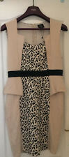 BN Little Mistress London blush pink fitted Fishtail leopard print dress size 16