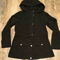 Women Size M Miss Lili Zip Up Snap Drawstring Waist Black Hooded Coat Jacket