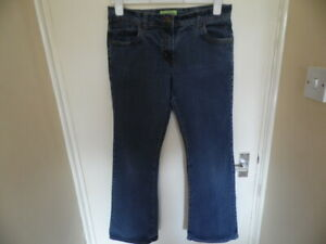 Ladies Blue Denim Bootcut Jeans with Button Zip Fastening and Pockets Size 12