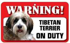 Tibetan Terrier Sign - Laminated Card -  Beware Of Dog 20cm x 12cm