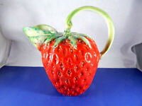 Hand Painted Ceramic Strawberry Pitcher Italy