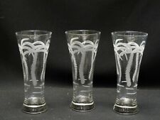 LOT OF 3 pcs  ETCHED PALM TREE BEER PILSNER GLASS ~ 7.25""