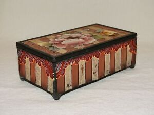 Hand Painted Glass Keepsake Jewelry Box With Floral Design And Mirrored Bottom