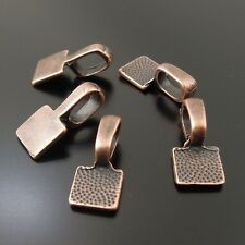 25x Red Copper Alloy Square Glue On Bails Pendants Charms Findings Crafts 33717