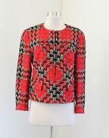 Vtg Carlisle Red Plaid Tweed Blazer Jacket Size 8 Wool Black Tan Holiday