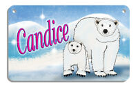 """Polar Bear Mama & Baby Bicycle Size License Plate Personalize 2.75"""" x 4.5"""" Metal"""