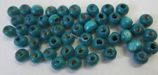 50 Wooden Beads 5mm Round Wood Bead Turquiose Blue For Beading & Craft WB202