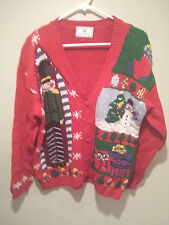 Vintage Ugly Christmas Sweater Tacky - Large L Red Chandler Hill Party Winner!!