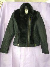 Black Quilted Faux Leather Julien Macdonald Designer Short Jacket Fur Trim 12-13
