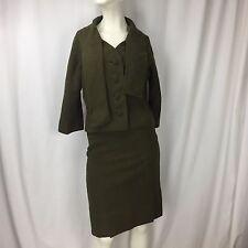 Vintage Sybil Connolly Irish Wool Tweed Olive Green Pencil Skirt Suit Sz 8