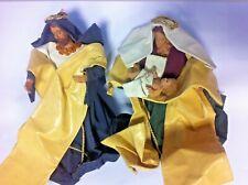 3 PEZZI NATIVITA' PRESEPE STATUINE IN CARTA PESTA S.GIUSEPPE MARIA E BAMBINO