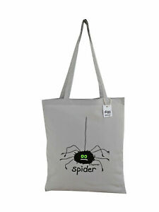 NEW TOTE BAG: SPIDER! Grey, 100% cotton