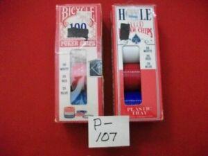 2 BOXES VINTAGE INTERLOCKING POKER CHIPS HOYLE & BICYCLE RED, WHITE & BLUE 200T