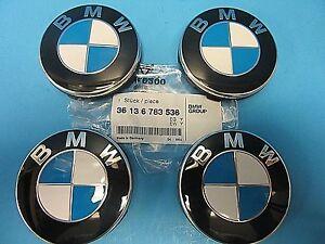 "4 Genuine Wheel Center Cap & Emblems BMW OEM # 36136783536 67 mm 2.7"" Push On"
