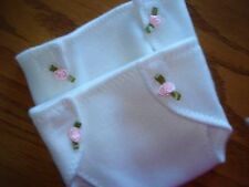 Set of 2 cream color Diapers trimmed pink satin rosebuds fit 15 inch Baby Doll