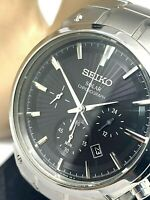 Seiko Solar Men's Chronograph Watch Core SSC317 Black Dial Stainless Steel 42mm