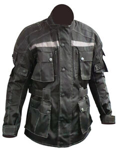 Mens Cordura Black Motorcycle Jacket Motorbike Waterproof Textile Armored Top