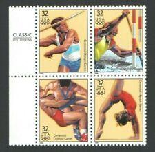 1996 ATLANTA Olympic US Postage Block 32 Cent Stamps Decathlon Canoeing Gymnasti