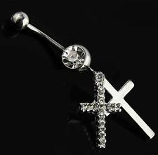 Clear Cubic Zirconia Double Cross Dangle 316L Surgical Steel Belly Ring With