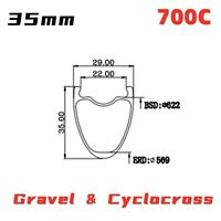 700C Gravel Cyclocross Disc Brake Carbon Rim light weight Tubeless Road Bike Rim