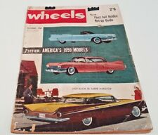 Dec 1958 WHEELS Mag FE HOT UP , Messerschmitt Consul Willys JEEP New US cars