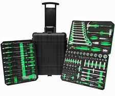 Werkzeugtrolley Werkzeugkoffer Werkzeugkiste Schwarz Grün mit Einlegern