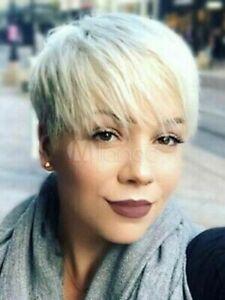 100% Human Hair Fashion Gorgeous Short Light Blonde Straight Human Hair Wigs