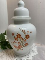 Vintage Orange And White Cherry Blossom Ginger Jar/Urn With Lid Marked Italy